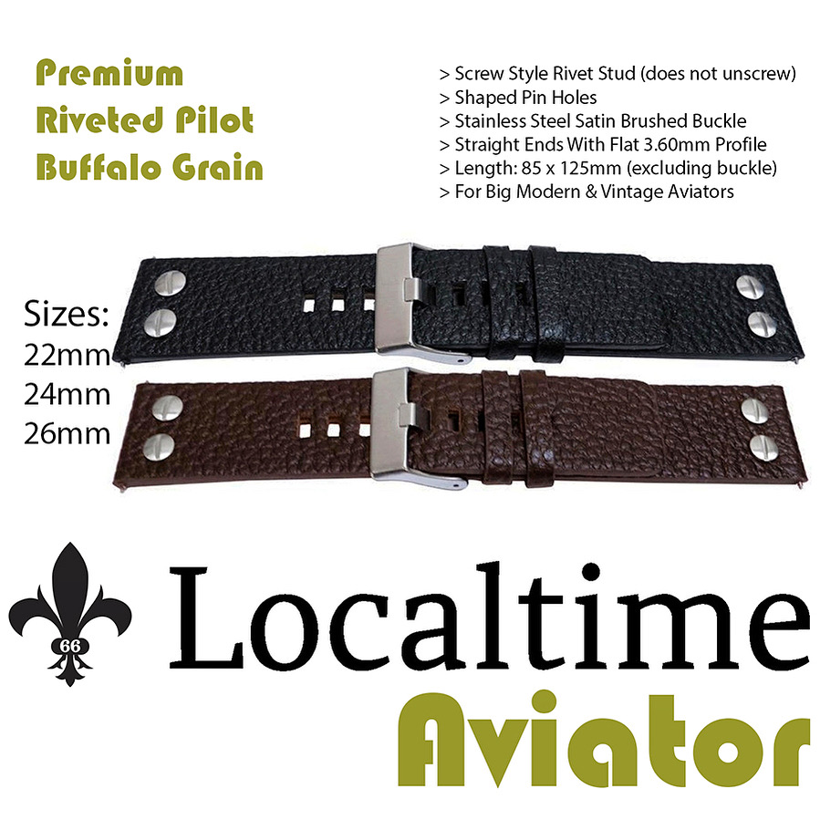 Premium Pilot Aviator Style Watch Straps Riveted Buffalo Calf Leather 22-24-26mm