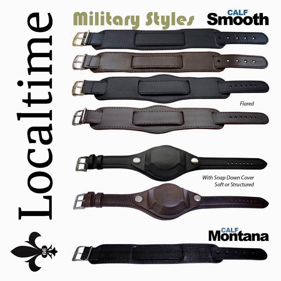 Premium BUND Military Wrist Watch Genuine Leather Straps Straight, Flared or With Domed Cover
