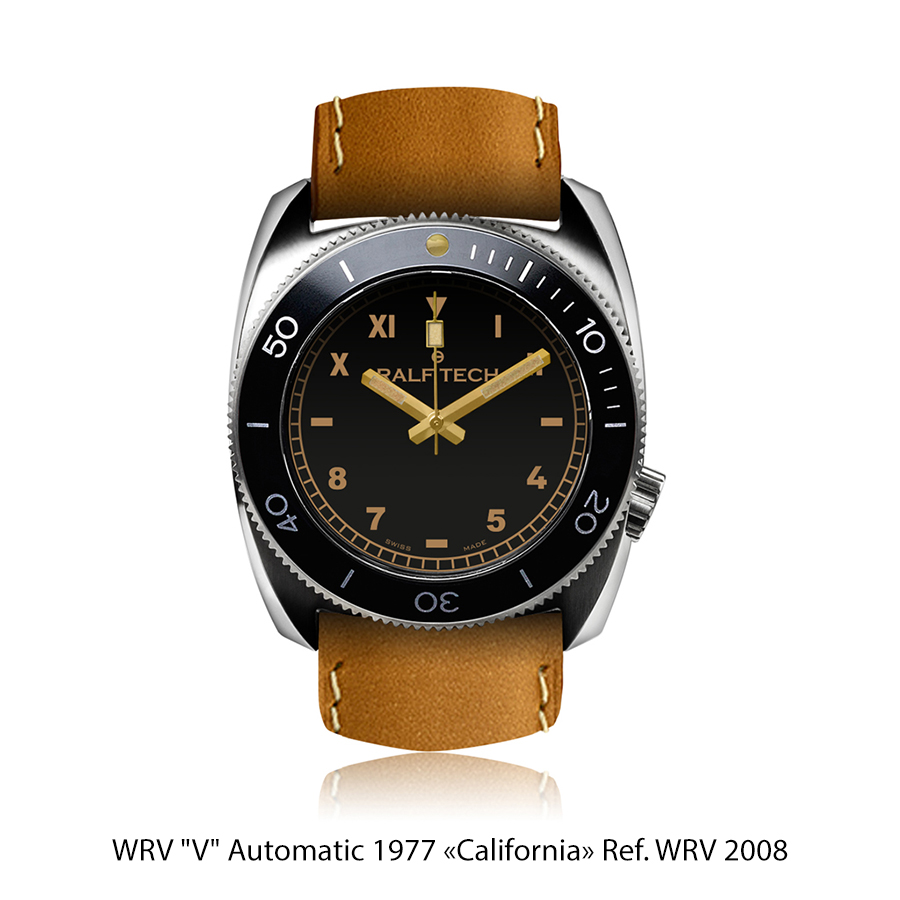 "BNIB RALF TECH (Swiss) WRV ""V"" Automatic 1977 ""CALIFORNIA"" Ref. WRV 2008 Watch RTA Cal. 002"