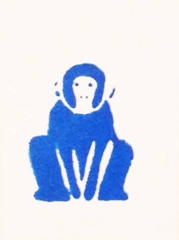 """Blue Monkey (Mini Print)"", 2017, Silkscreen On Watercolor Paper, 4"" x 3"""