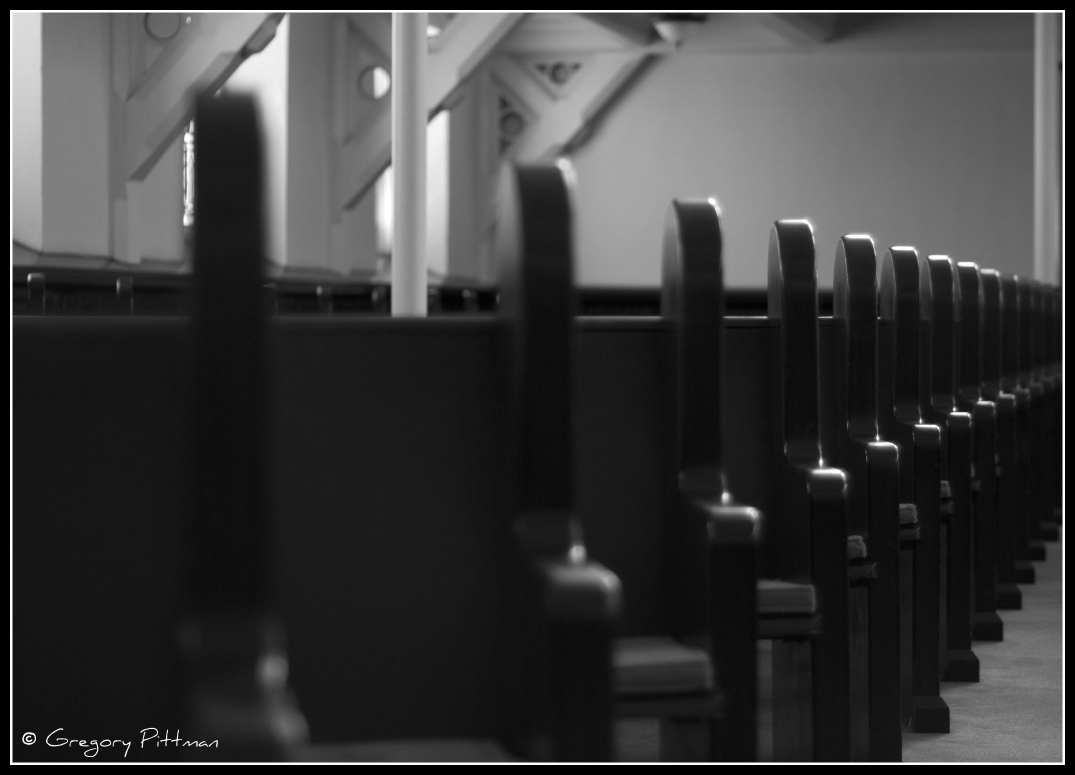 Angular rows of pews in a church