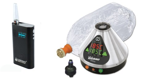 A portable alongside a desktop vaporizer