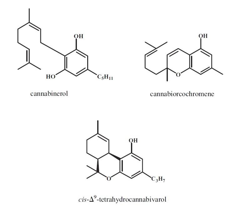 cannabiorcochromene, cis-D9-tetrahydrocannabivarol, and cannabinerol.