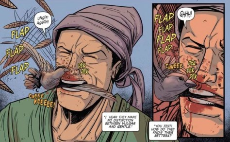 """The infamous """"mumbling a sparrow"""" scene from """"Turok"""" #10."""
