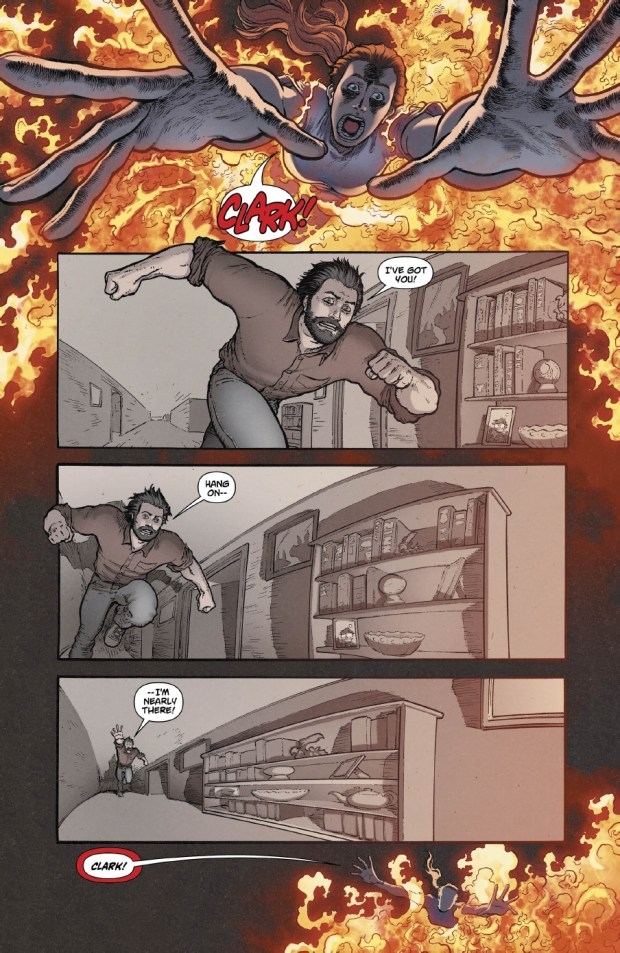 "A page from ""Action Comics"" #38, art by Aaron Kuder, colors by Wil Quintana."