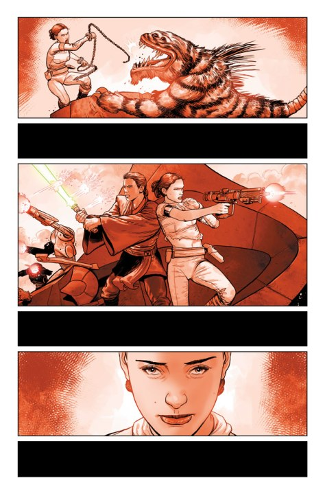 Star Wars: Darth Vader #2 preview page 02 - Padme and Anakin fighting monsters in the arena.