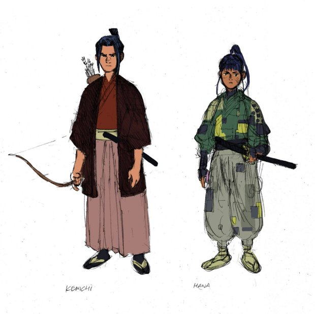 Giannis Milonogiannis's original designs for Kenichi and Hana, the main characters of RONIN ISLAND.