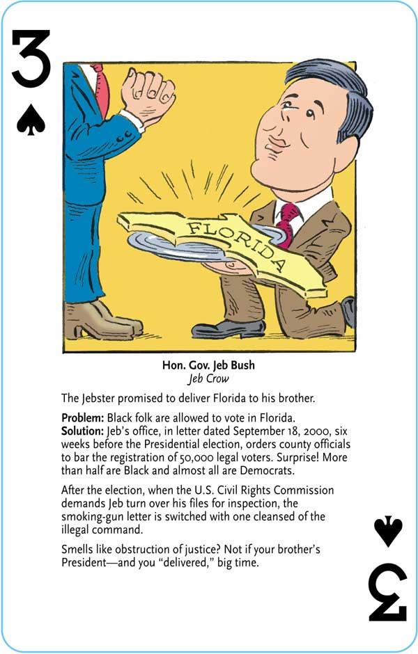 Jeb Bush playing card, cartoon