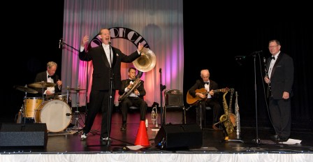 Greg Poppleton and the Bakelite Broadcasters at 1920s party. Greg Poppleton and the Bakelite Broadcasters Photo: MOBILE NO. 0425292809 EMAIL: michael@hennos.com