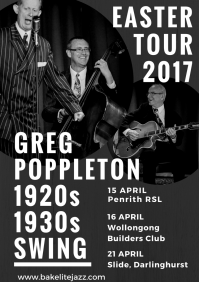 Greg Poppleton Easter Tour 2017 - Penrith RSL 15 April, Builders Club Wollongong 16 April, Gin Mill Social 21 April