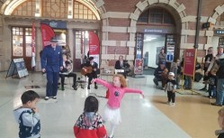 Children love dancing to Greg Poppleton's 1920s-30s music. lots of high fives.