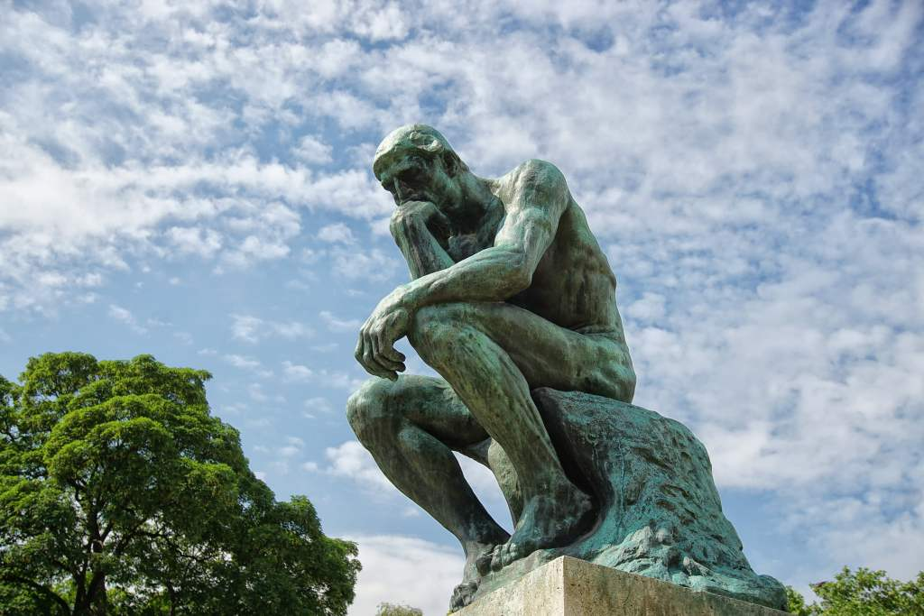 Rodin's sculpture The Thinker. What, or How To Think? That is the question. Philosophy, Conclusions, Thinking.
