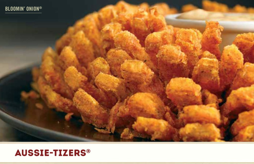Picture of a blooming' onion from outback steakhouse menu to make the point the Bible is a menu