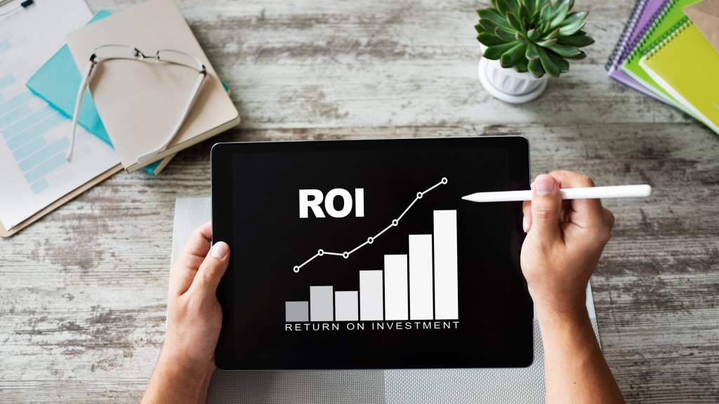 Return On InvestmenI- iPad with ROI graph - Invest in Yourself