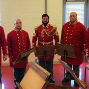 """Greg joined The Antebellum Marine Band to perform """"Christmas Music for the Lincolns, 1864"""" in a period concert at the Glenwood 50+ Center in 2016. (left to right; John Schmitt [trumpet], Paul Swenson [french horn], Kenneth J. Serfass [tuba], Kyle Russell [trombone], Greg Small [trumpet])"""