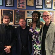 Jazz One, after a swinging concert paying tribute to the First Lady of Song, Ella Fitzgerald. (left to right; Phil Ravita [bass], Mark Leppo [drums], Deirdre Jennings [vocals], Greg Small [piano])