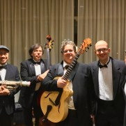 Performing with the Phil Ravita Jazz Group for the final time in 2019 at a private holiday event. (left to right; Caesar Ulsano (cornet), Phil Ravita (bass), Skip Grasso (guitar), Greg Small (piano), Nucleo Vega (drums)