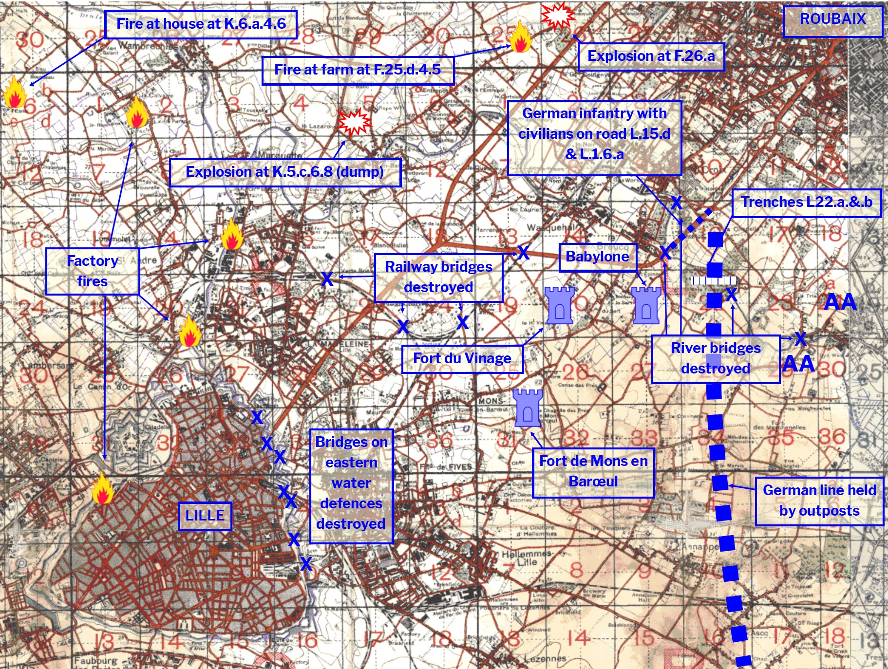 Map Of France Showing Lille.Thursday 17 October 1918 Flying East Of Liberated Lille Greg S War