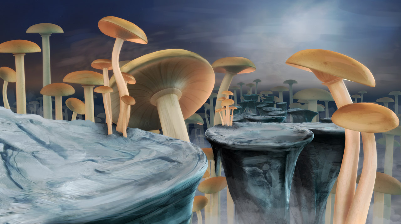 animation backdrop of mushroom