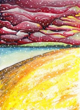 Snow Fall Riverbank at Twilight