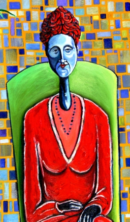 Blue Woman in Red Close Up