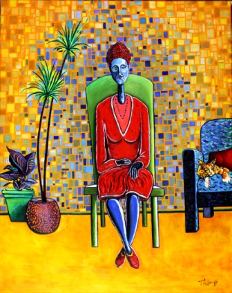 Blue Woman in Red