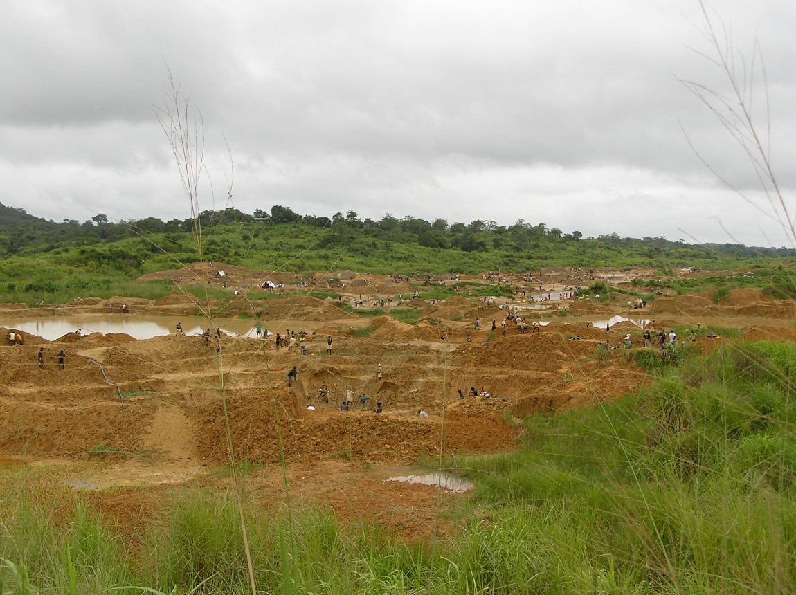 Alluvial diamond fields of Kono in Sierra Leone