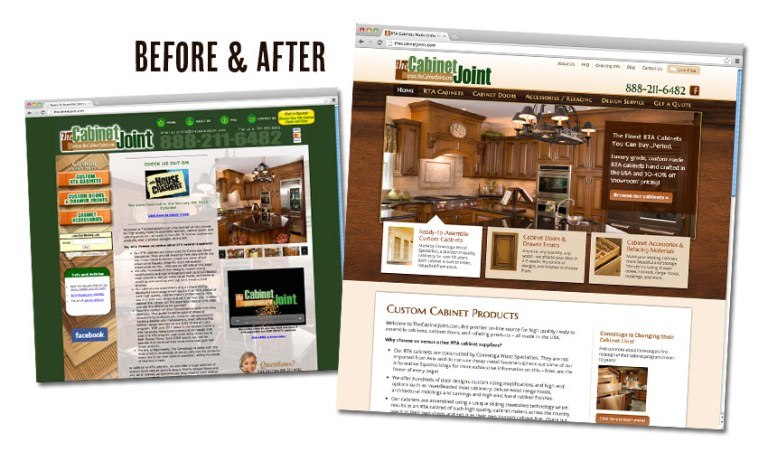 The Cabinet Joint - before and after the website redesign