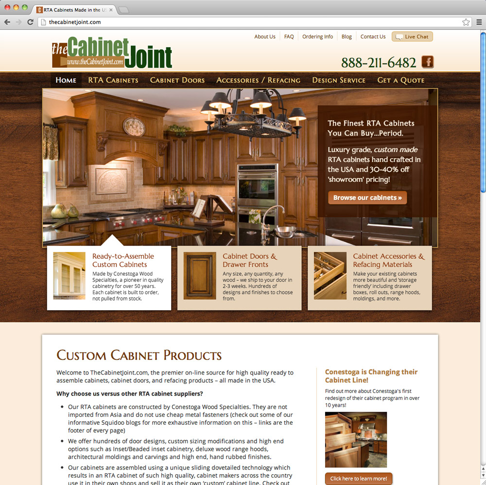 Homepage after redesign