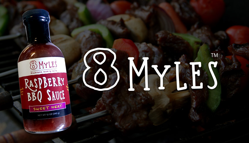 8 Myles logo and sauce bottle