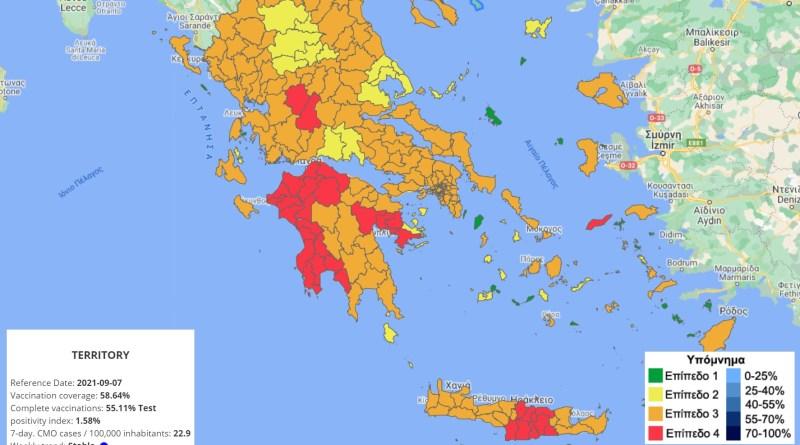 Greklands smittkarta 8 september