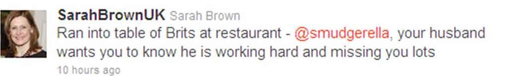 Sarah Brown tweet