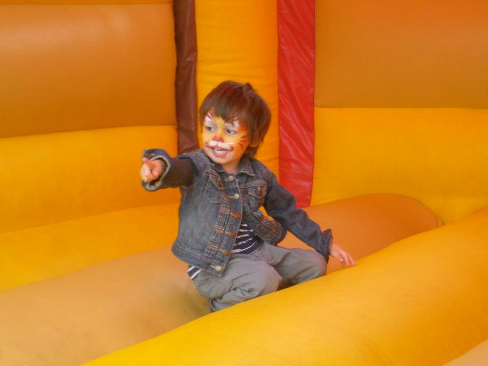 Zachy tiger on bouncy castle