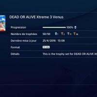 [Trophee]Platine 118:Dead Or Alive Xtreme 3 Venus edition