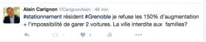 le tweet d'Alain Carignon a l'annonce des mesures