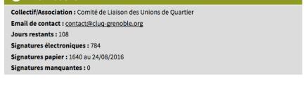 la pétition du CLUQ a atteint les 2000 signatures selon le site de la ville