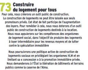 """La municipalité n'a pas créé """"d'outil de construction """", ni (heureusement) poussé son projet de bétonner aussi la caserne de l'Alma et défavorise le logement intermédiaire en imposant 50 % de HLM dans toutes les opérations"""