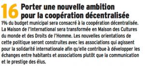 Bien entendu Piolle ne consacre pas 1% du budget à la coopération décentralisée, et côté communication il a préféré consacrer 500 000 € à la fête des tuiles plutôt qu'à la coopération décentralisée...
