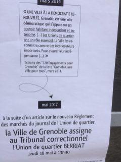 Par voie d'affiches le quartier avait dénoncé des pratiques de la municipalité à l'opposé de tous ses engagements