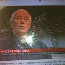 """Vincent Comparat Président des Verts/Ades se faisant interviewer comme représentant d'un """"observatoire des finances locales"""" qui n'existe pas. Les rois de la manipulation"""