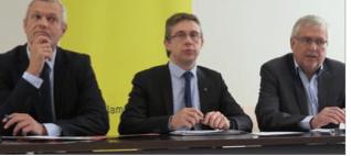 avec Fabrice Hugelé ( à gauche) licencié et Guy Jullien le Maire de Veurey qui définirait l'avenir de Grenoble si on en croit les publications de la Métro
