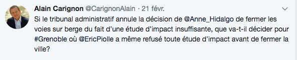 Suite à la décision du Tribunal de Paris concernant Anna Hidalgo, Alain Carignon a immédiatement réagi