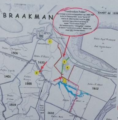 Kaartje van de overstromingen in 1808