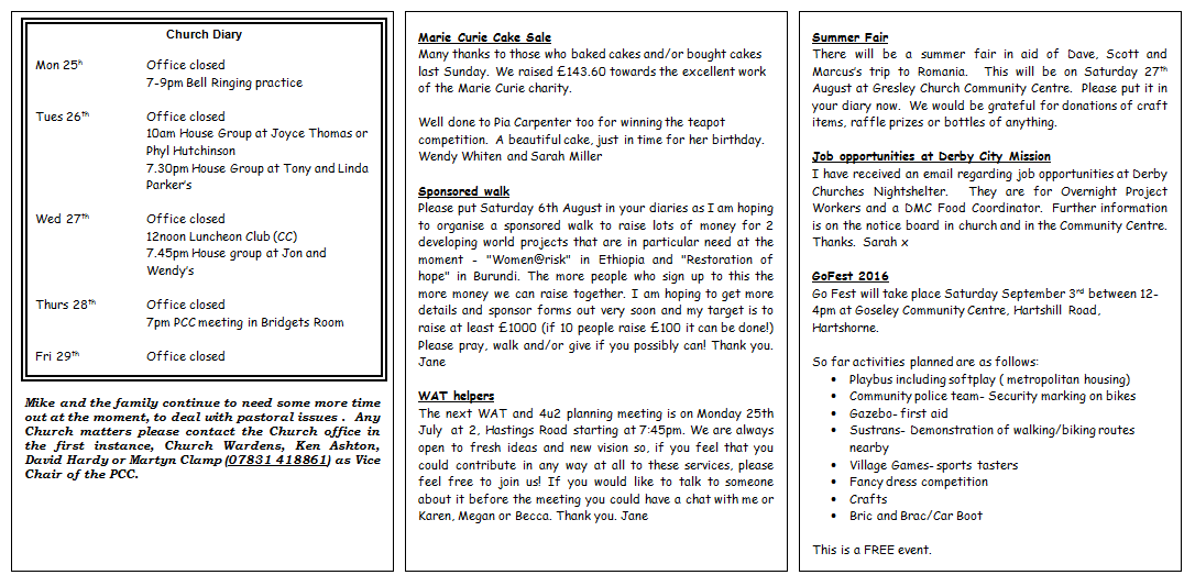 Notices | Gresley Church
