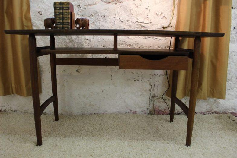 front drawer open mid century modern floating desk