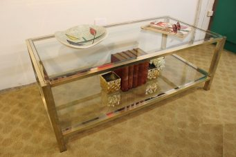 brass and chrome coffee table (3)