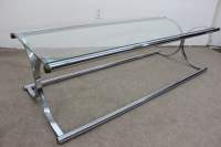 Mid Century Modern Chrome and glass tubular coffee table ...