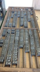 Printers pie, printing block letters