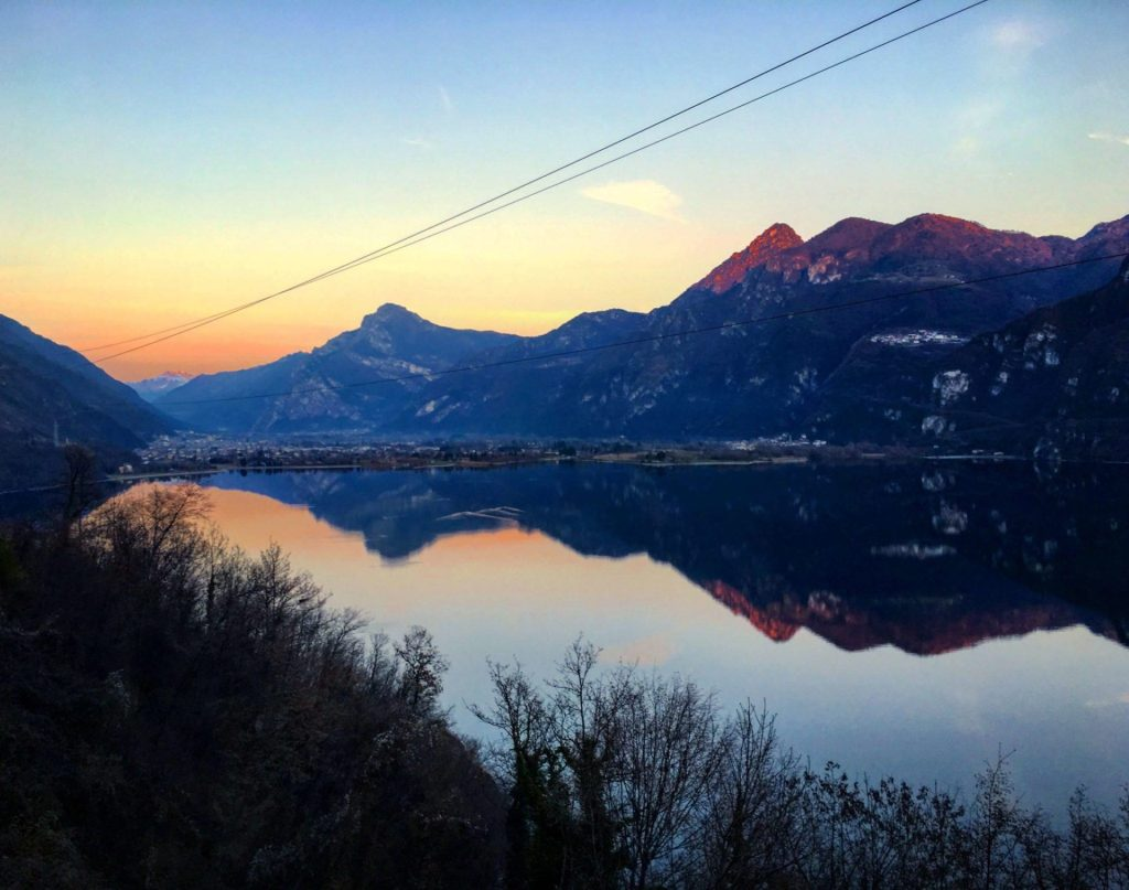 Sunset reflections on Lake Idro, on the drive up to Campiglio