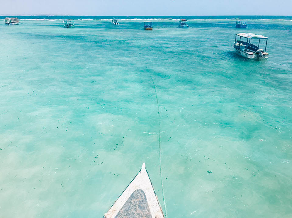 The crystal clear turquoise water of the Malindi Marine National Park